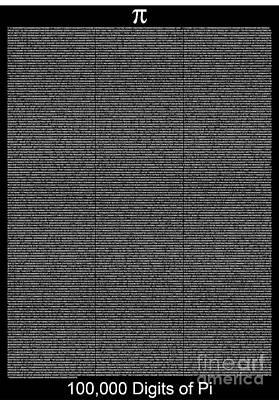 100 000 Digits Of Pi Art Print by Stefano Senise