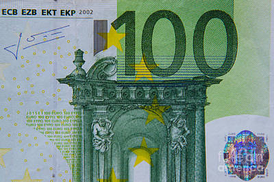 Euro Zone Photograph - 100 Euro Bill by Rex Wholster
