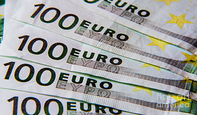 Euro Zone Photograph - 100 Euro Bills by Rex Wholster