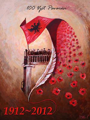 Anniversary Painting - 100 Vjetori I Pavaresis Se Shqiperise  by Ylli Haruni