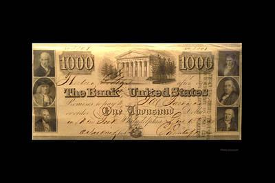 1000 Dollar Us Currency Philadelphia Bill Art Print by Thomas Woolworth