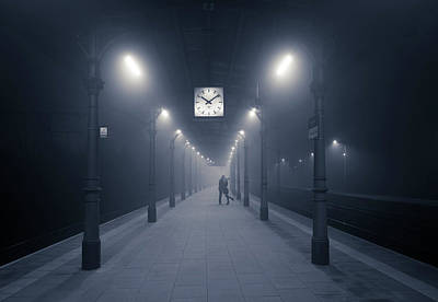Railway Station Photograph - 10:09 Pm by Adam Brzuszek