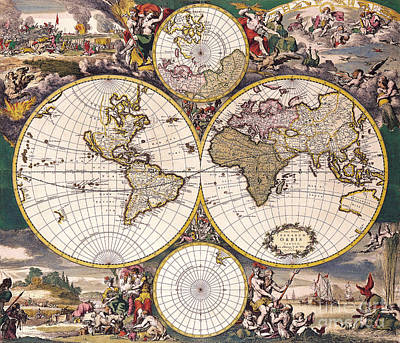 Antique Map Painting - Antique Map by Baltzgar