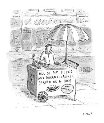 Hot Dogs Drawing - New Yorker September 12th, 2005 by Roz Chast