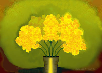 Painting - 1015 - Yellow Flowers ... by Irmgard Schoendorf Welch