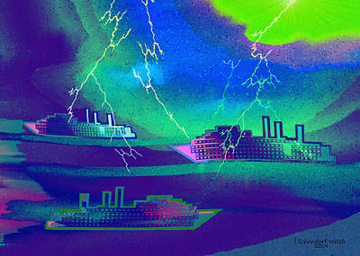 Painting - 1016 -   Thunderstorm In The Harbour by Irmgard Schoendorf Welch