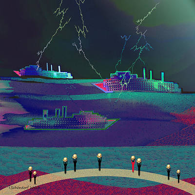 Painting - 1018 - Ships In A Tainted  Night by Irmgard Schoendorf Welch