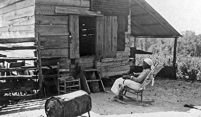 Corn Cribs Photograph - 102 Year Old Woman At Her Home by Underwood Archives