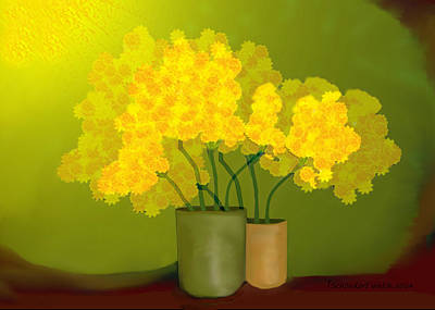 Painting - 1021 - Yellow Flowers ... by Irmgard Schoendorf Welch
