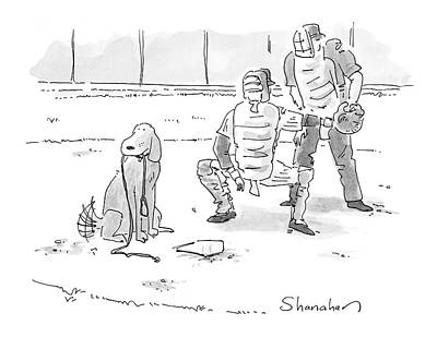Pitcher Drawing - New Yorker October 10th, 2005 by Danny Shanahan