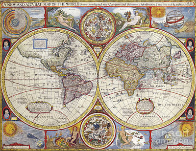 World Map Painting - Antique Map by Baltzgar