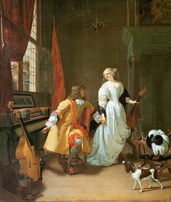 Painting - An Elegant Couple by Jan Verkolje