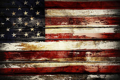 Wooden Photograph - American Flag by Les Cunliffe