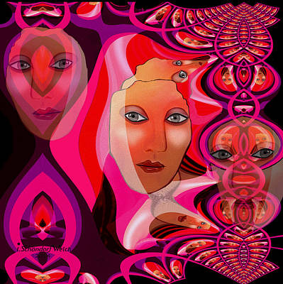 Painting - 1082 Pink Lady  Fractal by Irmgard Schoendorf Welch