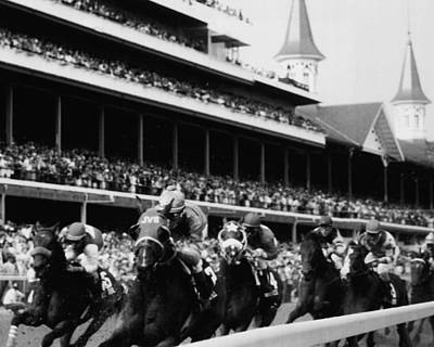 Jockeys Photograph - Kentucky Derby Horse Racing by Retro Images Archive