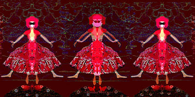 Painting - 1093 - Dolls  Triptych by Irmgard Schoendorf Welch