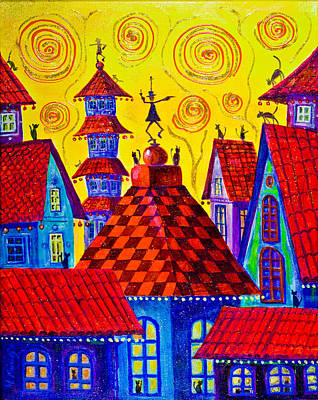 1099 Magic Town 4 - Gilded Art Print