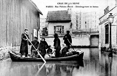 Floods Photograph - 10th Century Flooded Paris Street by Collection Abecasis