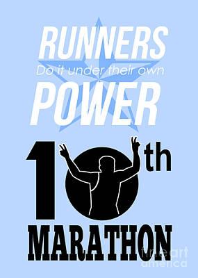 10th Marathon Race Poster  Art Print