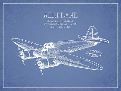 Transportation Digital Art - Airplane patent Drawing from 1943 by Aged Pixel