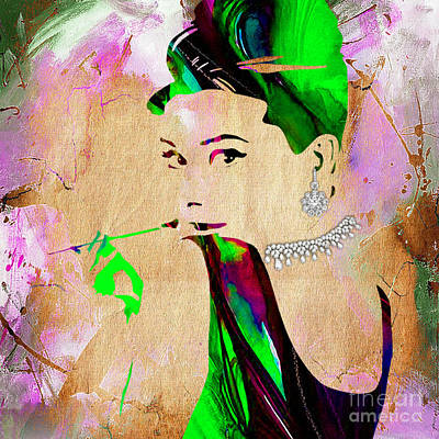 Movie Art Mixed Media - Audrey Hepburn Diamond Collection by Marvin Blaine