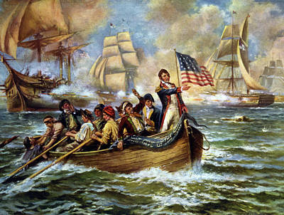 Drawing - Battle Of Lake Erie, 1813 by Granger
