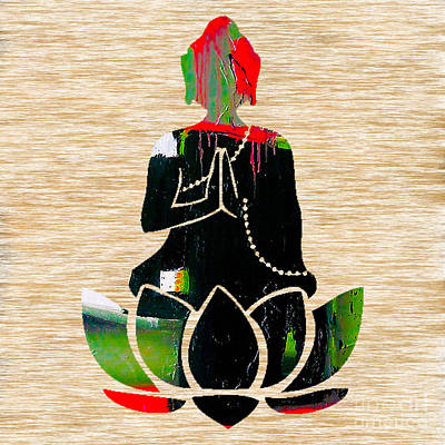 Bamboo Mixed Media - Buddah On A Lotus by Marvin Blaine