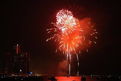 Skyline Photograph - Detroit Fireworks by Gary Marx
