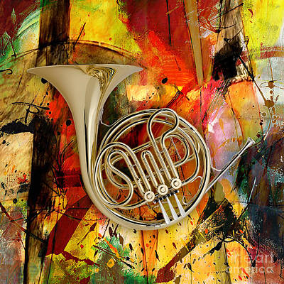 Symphony Mixed Media - French Horn by Marvin Blaine
