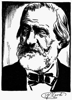 Autographed Drawing - Giuseppe Verdi (1813-1901) by Granger