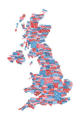 Typographic Digital Art - Great Britain Uk City Text Map by Michael Tompsett