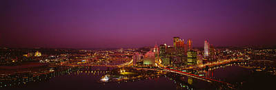 High Angle View Of Buildings Lit Art Print by Panoramic Images