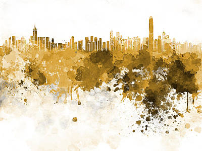 Hong Kong Painting - Hong Kong Skyline In Watercolor On White Background by Pablo Romero