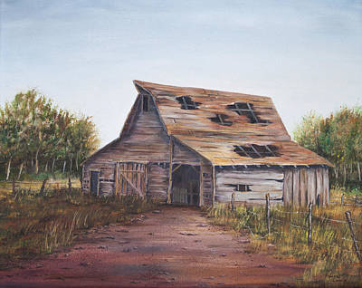 Tn Barn Painting - Rusty Roof by Frances Lewis