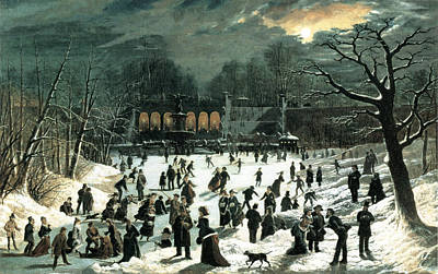 Photograph - Moonlight Skating Central Park The Terrace And Lake by John Sloan