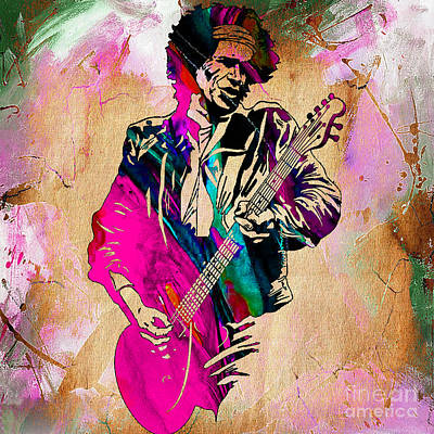 Keith Richards Collection Art Print by Marvin Blaine