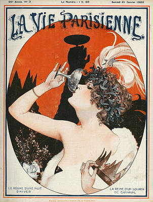 Vintage Drawing - La Vie Parisienne  1922 1920s France by The Advertising Archives