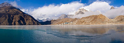 Nepal Scenes Photograph - Lake With Mountains In The Background by Panoramic Images