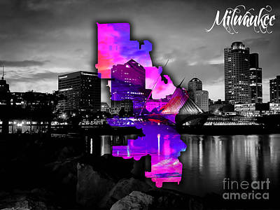 Milwaukee Map And Skyline Watercolor Print by Marvin Blaine