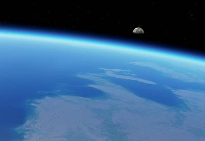 Curvature Photograph - Moonrise Over Earth by Detlev Van Ravenswaay