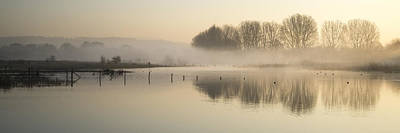 Panorama Landscape Of Lake In Mist With Sun Glow At Sunrise Art Print by Matthew Gibson
