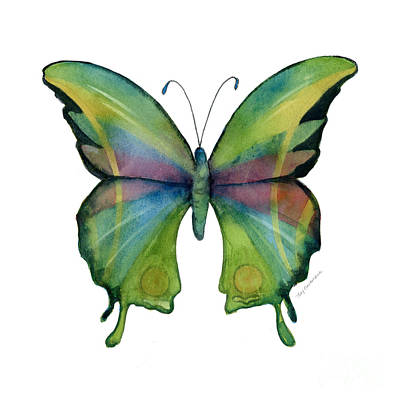 White Background Painting - 11 Prism Butterfly by Amy Kirkpatrick