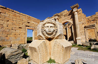 Medusa Photograph - Sculpted Medusa Head At The Forum Of Severus At Leptis Magna In Libya by Robert Preston