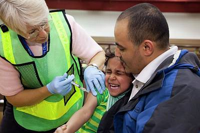 Crying Photograph - Swine Flu (h1n1) Vaccination by Jim West