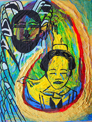 Ugandan Ceramicist Painting - The Annunciation by Gloria Ssali