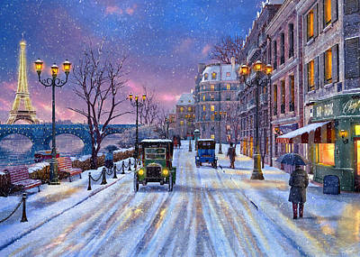 Winter In Paris Art Print by Dominic Davison