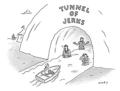 Canoes Drawing - Tunnel Of Jerks by Kim Warp