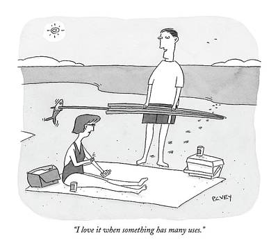 Seashore Drawing - I Love It When Something Has Many Uses by Peter C. Vey