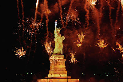 Fire Works Photograph - Usa, New York, Statue Of Liberty by Panoramic Images