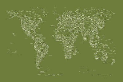 Digital Art - World Map Of Cities by Michael Tompsett